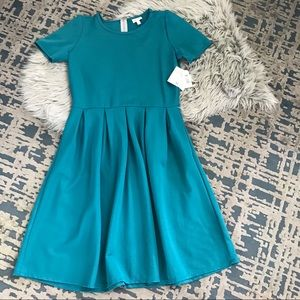 LuLaRoe Amelia Solid Peacock Teal Textured Dress